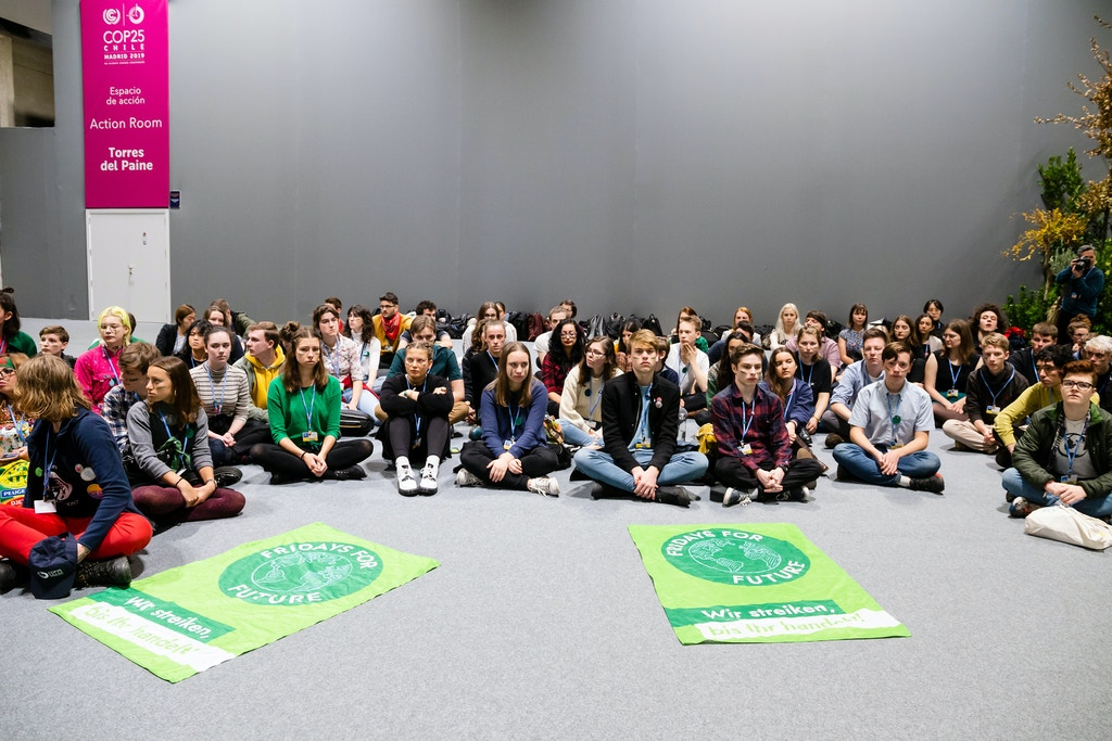 Youth strikers to stage sit-in at un climate talks during the Conference of the Parties to the United Nations Framework Convention on Climate Change -COP25 on day 6, in December 6, 2019 in Madrid, Spain. (Photo by Rita Franca/NurPhoto via Getty Images)