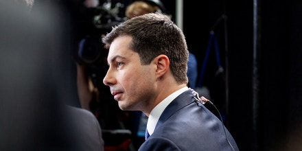 Pete Buttigieg speaks with a member of the media following the Democratic presidential debate in Los Angeles on Dec. 19, 2019.