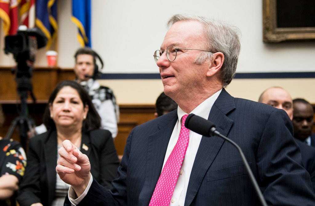 "UNITED STATES - APRIL 17: Eric Schmidt, Chairman of the Defense Innovation Board, takes his seat for the House Armed Services Committee hearing on ""Promoting DOD's Culture of Innovation"" on Tuesday, April 17, 2018. (Photo By Bill Clark/CQ Roll Call)"