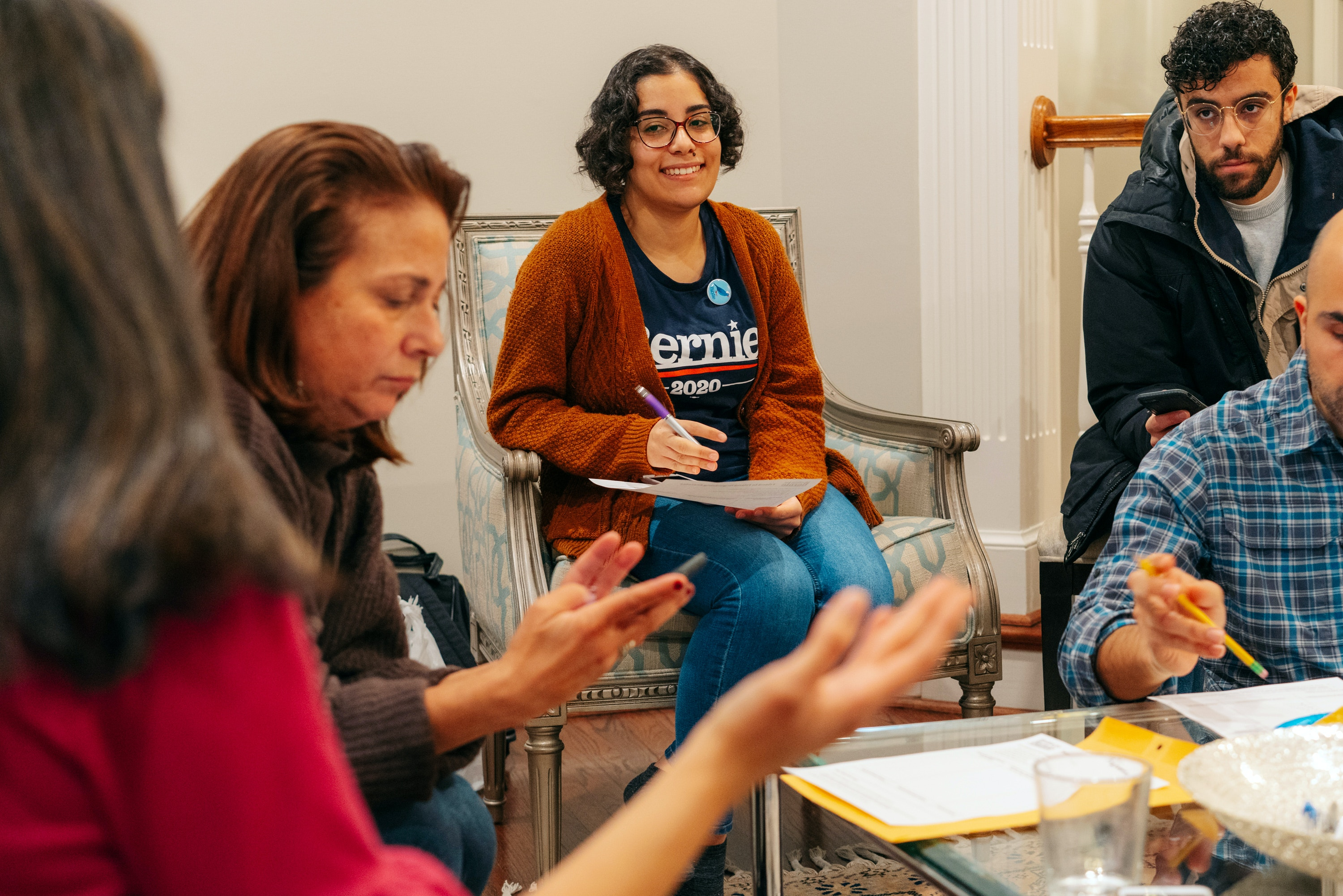 "Saturday, December 21st, 2019 -- Arlington, Virginia Bernie Victory Captain Zeinab El-Rewini (center) at a ""#ArabAmericans4Bernie Mapping Party."" in Arlington, Virginia."