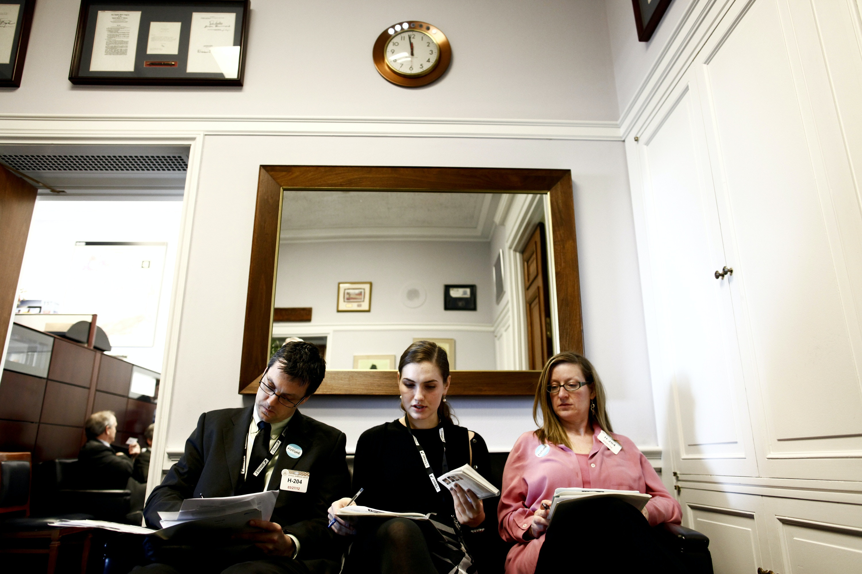 Adi Cohen, left, Hannah Duncan, center, and Sherry Lifton, activists from a pro-Israel group called J Street, wait in the office of Rep. Ed Pastor (D-Ariz.) while lobbying members of Congress on Capitol Hill in Washington, March 27, 2012. Members of the group, which was formed in part as an alternative to the more conservative American Israel Public Affairs Committee, were in Washington lobbying representatives to show that not all American Jews were in support of a military strike on Iran. (Luke Sharrett/The New York Times)