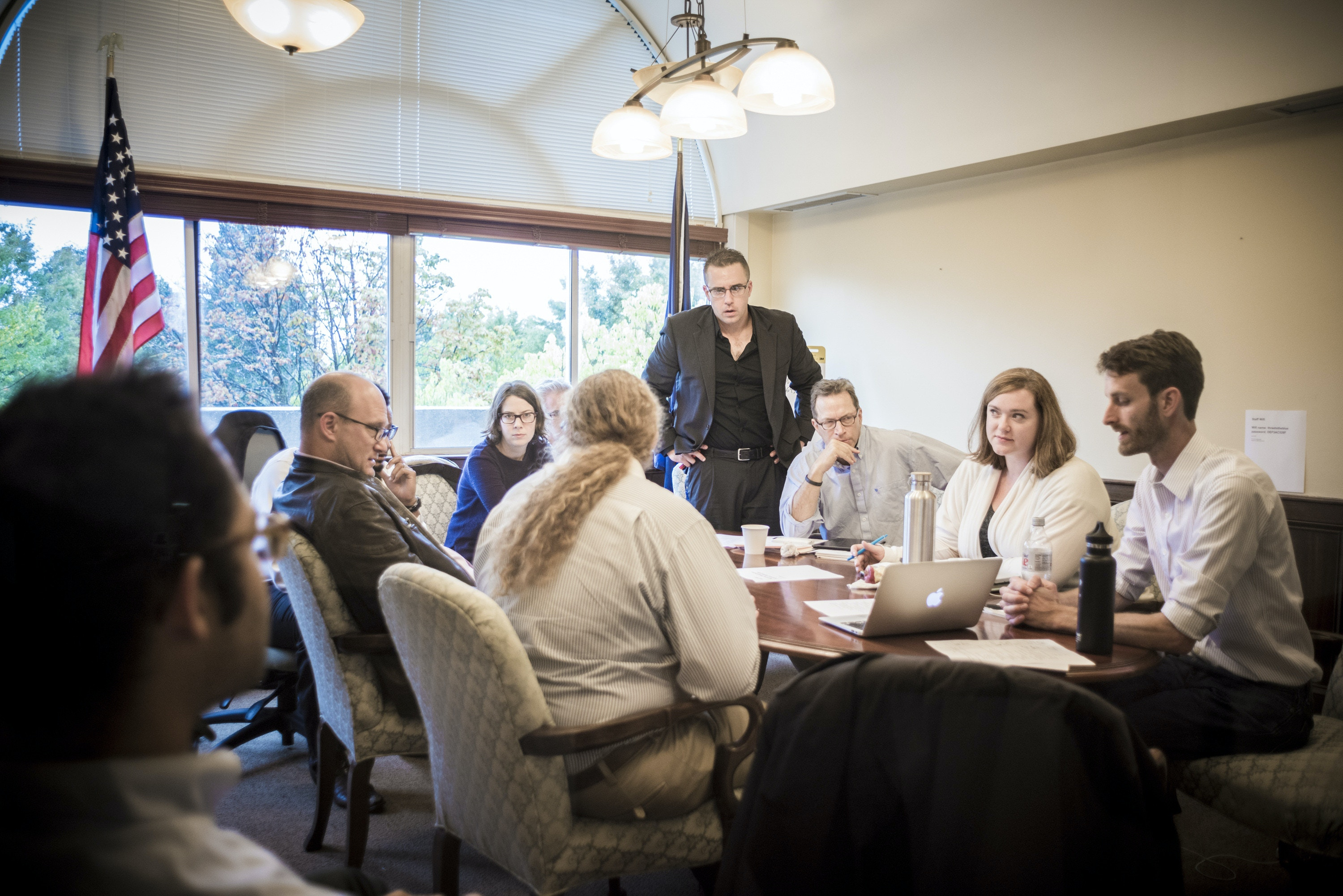 Top advisers to Sen. Bernie Sanders, a Democratic presidential hopeful, meet with members of his campaign staff from Iowa, New Hampshire and South Carolina in Burlington, Vt., Sept. 30, 2015. The Vermont senator and his advisers, having raised about $26 million since July, are forming a battle plan beyond their immediate goals of winning Iowa and New Hampshire. (Ian Thomas Jansen-Lonnquist/The New York Times)