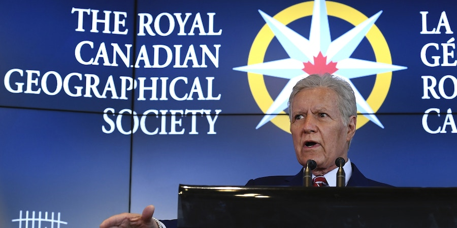 Alex Trebek, host of TV game show Jeopardy! and honorary president of The Royal Canadian Geographical Society, speaks during the official opening of Canada's Centre for Geography and Exploration, the new headquarters of The Royal Canadian Geographical Society at 50 Sussex Drive in Ottawa on Monday, May 13, 2019. (Justin Tang/The Canadian Press via AP)