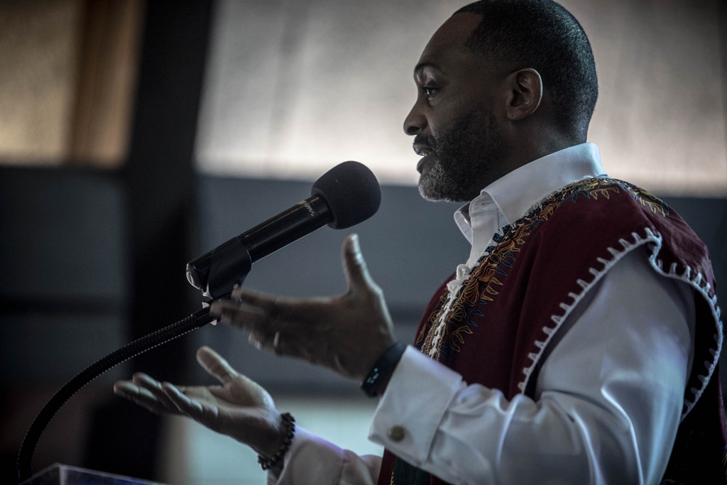December 15, 2019 - Memphis, TN: Pastor Earle Fisher delivers a sermon during Sunday service at Abyssinian Baptist Church, where he has been pastor for years.