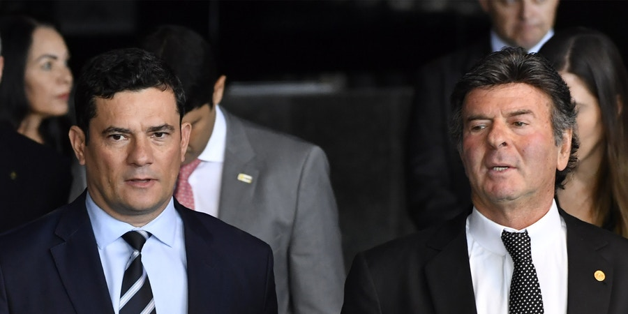 O ministro da Justiça, Sergio Moro, durante seminário do Dia Internacional Contra Corrupção, realizado no Ministério da Justiça, em Brasília.