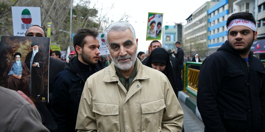 FILE -- In this Feb. 11, 2016 file photo, Revolutionary Guard Gen. Qassem Soleimani attends an annual rally commemorating the anniversary of the 1979 Islamic revolution, in Tehran, Iran. As Saudi Arabia holds a naval drill in the strategic Strait of Hormuz, Soleimani, a powerful Iranian general was quoted, Wednesday, Oct. 5, 2016, by the semi-official Fars and Tasnim news agencies as suggesting the kingdom's deputy crown prince is so