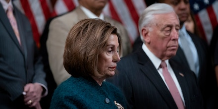 Speaker of the House Nancy Pelosi, D-Calif., joined at right by Majority Leader Steny Hoyer, D-Md., attends a health care event at the Capitol in Washington, Wednesday, Dec. 11, 2019. (AP Photo/J. Scott Applewhite)