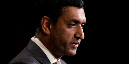 UNITED STATES - JANUARY 9: Rep. Ro Khanna, D-Calif., speaks during the press conference in the Capitol to unveil the No War Against Iran Act on Thursday, Jan. 9, 2020. (Photo By Bill Clark/CQ Roll Call via AP Images)