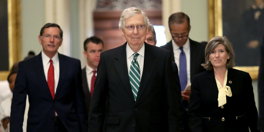 WASHINGTON, DC - JULY 30: Senate Majority Leader Mitch McConell (R-KY) (C) walks to a press conference with fellow Republicans following the weekly Republican policy luncheon on July 30, 2019 in Washington, DC. McConnell answered a range of questions including the pending senate agenda, and election security questions. Also pictured (L-R) are Sen. John Barrasso (R-WY), Sen. Todd Young (R-IN), Sen. John Thune (R-SD) and Sen. Joni Ernst (R-IA). (Photo by Win McNamee/Getty Images)
