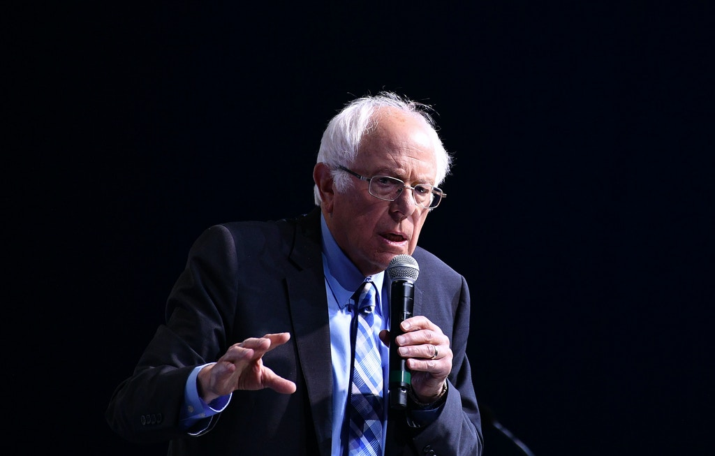 Democratic presidential candidate Sen. Bernie Sanders speaks during the 2019 J Street National Conference at the Walter E. Washington Convention Center in Washington, DC on October 28, 2019. (Photo by MANDEL NGAN / AFP) (Photo by MANDEL NGAN/AFP via Getty Images)