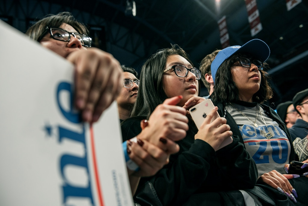 MINNEAPOLIS, MN - NOVEMBER 03: Supporters of Democratic presidential candidate Sen. Bernie Sanders (I-VT) look on at a rally at the University of Minnesotas Williams Arena on November, 3, 2019 in Minneapolis, Minnesota. Sanders was joined at the rally by Democratic Representative Ilhan Omar, who praised the Senator's policy proposals of comprehensive immigration reform and support for unions. (Photo by Scott Heins/Getty Images)