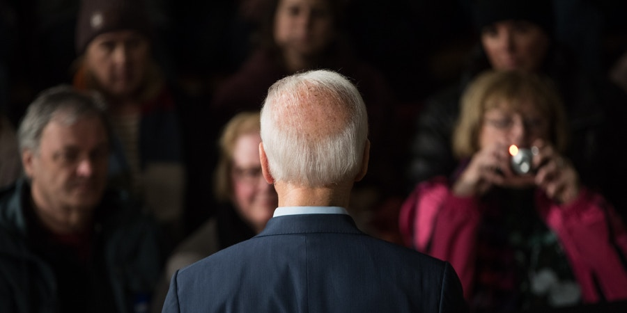 EXETER, NH - DECEMBER 30:  Democratic presidential candidate, former Vice President Joe Biden speaks during a campaign Town Hall on December 30, 2019 in Exeter, New Hampshire.  (Photo by Scott Eisen/Getty Images)