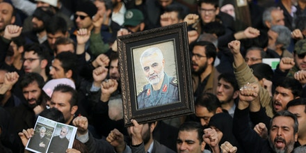 People gather to stage a protest against the killing of Iranian Maj. Gen. Qassim Suleimani after Friday prayer in Tehran, Iran, on Jan. 3, 2020.