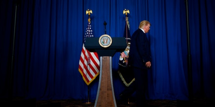 US President Donald Trump leaves after making a statement on Iran at the Mar-a-Lago estate in Palm Beach Florida, on January 3, 2020. - President Donald Trump said on January 3, 2020 that America does not seek war or regime change with Iran, less than a day after the US launched an airstrike in Baghdad that killed Irans top general, Qasem Soleimani. (Photo by JIM WATSON / AFP) (Photo by JIM WATSON/AFP via Getty Images)