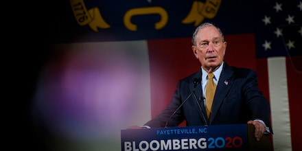 FAYETTEVILLE, NC - JANUARY 03: Democratic Presidential candidate Michael Bloomberg  addresses a crowd of community members and elected officials at the Metropolitan Room on January 3, 2020 in Fayetteville, North Carolina.After expressing several campaign promises, Bloomberg shook hands and took photos with dozens of people in a campaign kick off for Veterans and Military Families for Mike.(Photo by Melissa Sue Gerrits/Getty Images)