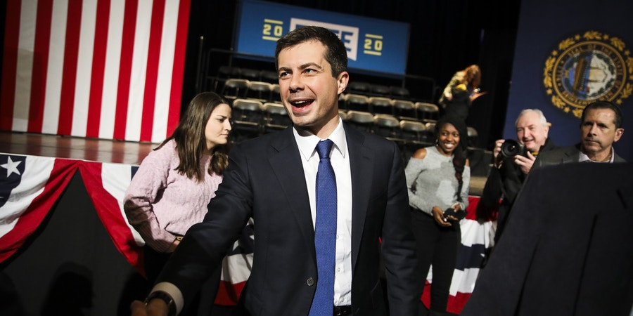 KEENE, NH - JANUARY 2: South Bend, IN Mayor and U.S. presidential candidate Pete Buttigieg shakes hands with supporters after speaking to a crowd of over 850 people during his sixth visit to the Monadnock region in Keene, NH on Jan. 2, 2020. With a little over a month to go before New Hampshire's first in the nation primary, Pete Buttigieg began his four-day, eight-town hall tour of New Hampshire at the Colonial Theatre in downtown Keene. (Photo by Erin Clark for The Boston Globe via Getty Images)
