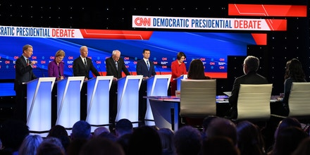 (L-R) Democratic presidential hopefuls billionaire-philanthropist Tom Steyer, Massachusetts Senator Elizabeth Warren, Former Vice President Joe Biden, Vermont Senator Bernie Sanders, Mayor of South Bend, Indiana, Pete Buttigieg and Minnesota Senator Amy Klobuchar speak during the seventh Democratic primary debate of the 2020 presidential campaign season co-hosted by CNN and the Des Moines Register at the Drake University campus in Des Moines, Iowa on January 14, 2020. (Photo by Robyn Beck / AFP) (Photo by ROBYN BECK/AFP via Getty Images)