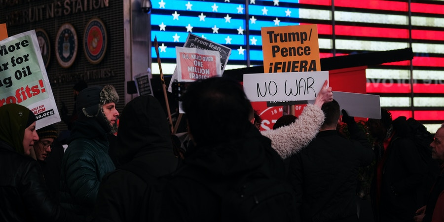 NEW YORK CITY,  - JANUARY 08: People participate in a protest in Times Square against military conflict with Iran on January 08, 2020 in New York City, United States. The