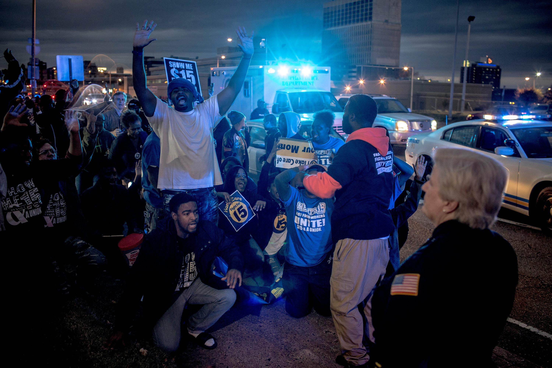 November 29, 2016 - Memphis,TN: Fight for 15 protest outside a South Memphis McDonaldsAndrea Morales
