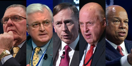 Jack Keane, Van Hipp, David Petraeus, John Negroponte, and Jeh Johnson from left to right.