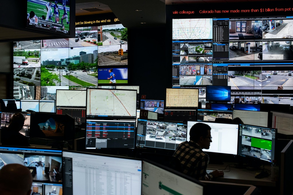 Video from surveillance cameras around the city is displayed at the Real Time Crime Center the viewing space for Project Green Light, at the Police Department's headquarters in downtown Detroit, June 14, 2019. In recent weeks, a public outcry has erupted over the facial recognition program employed in conjunction with the network of cameras. (Brittany Greeson/The New York Times)