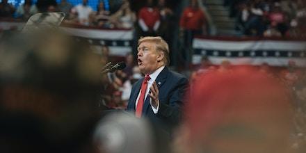 Discurso do presidente norte-americano Donald Trump em Sunrise, na Flórida, em 26 de novembro de 2019.