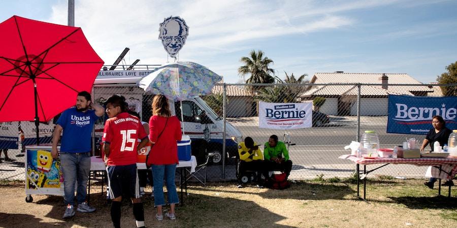 Bernie Sanders supporters gather at the Eldorado Highschool soccer fields in Las Vegas, Nevada for the Unidos Con Soccer Tournament on Feb 17, 2020. Krystal Ramirez for The Intercept