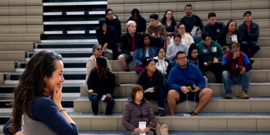 Ana Maria Archila, overwhelmed from the large turnout for Bernie Sancers for the Nevada Caucuses at Desert Pines Highschool in Las Vegas, Nevada on February 22nd, 2020. Krystal Ramirez for The Intercept