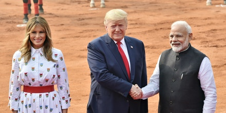 NEW DELHI, INDIA - FEBRUARY 25: US President Donald Trump and US First Lady Melania Trump with  Indian Prime Minister Narendra Modi, during Trump's ceremonial reception at Rashtrapati Bhavan, on February 25, 2020 in New Delhi, India.  (Photo by Ajay Aggarwal/ Hindustan Times via Getty Images)