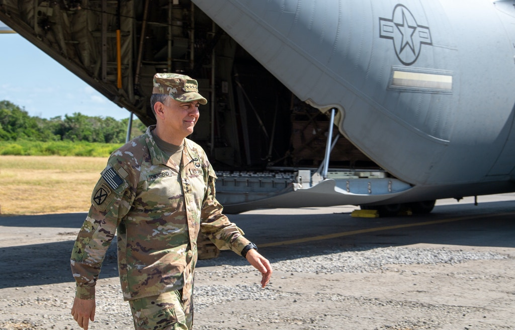 U.S. Army Gen. Stephen J. Townsend, commander, U.S. Africa Command, arrives at Manda Bay Airfield, Kenya, Feb. 12, 2020. Townsend visited Camp Simba, Kenya, to personally assess the security situation at the Kenyan Defense Force installation at Manda Bay, Kenya and to thank the U.S. military personnel for their service and highlighted the value of their work alongside our Kenyan partners. (U.S. Air Force photo by Tech. Sgt. Christopher Ruano)