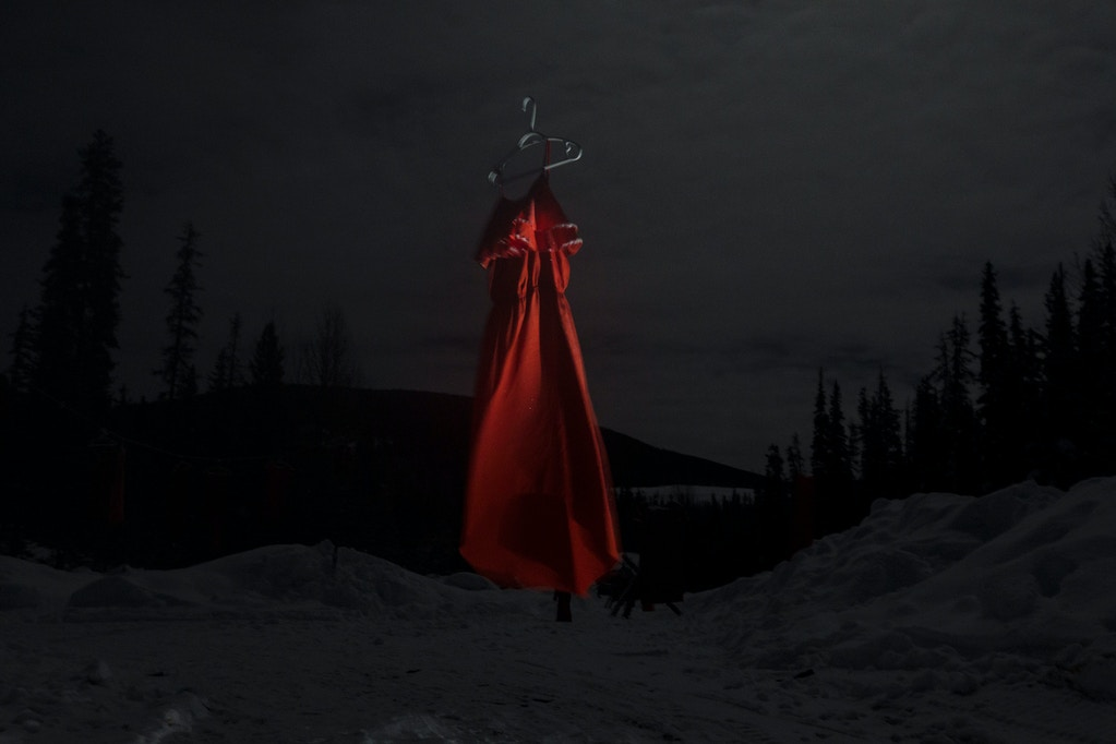 A red dress, one of dozens hung at Unist'ot'en camp near Houston, B.C. on Friday, February 7, 2020. The red dresses are meant to represent the thousands of missing and murdered Indigenous women and girls, and to make the point that Indigenous people are over policed but under-protected. RCMP spent $3.6 mill CAD in the first three months of 13 they have spent policing the Wet'suwet'en re-occupation camps. They even set up a remote RCMP detachment 29 km up the remote logging road. Amber Bracken