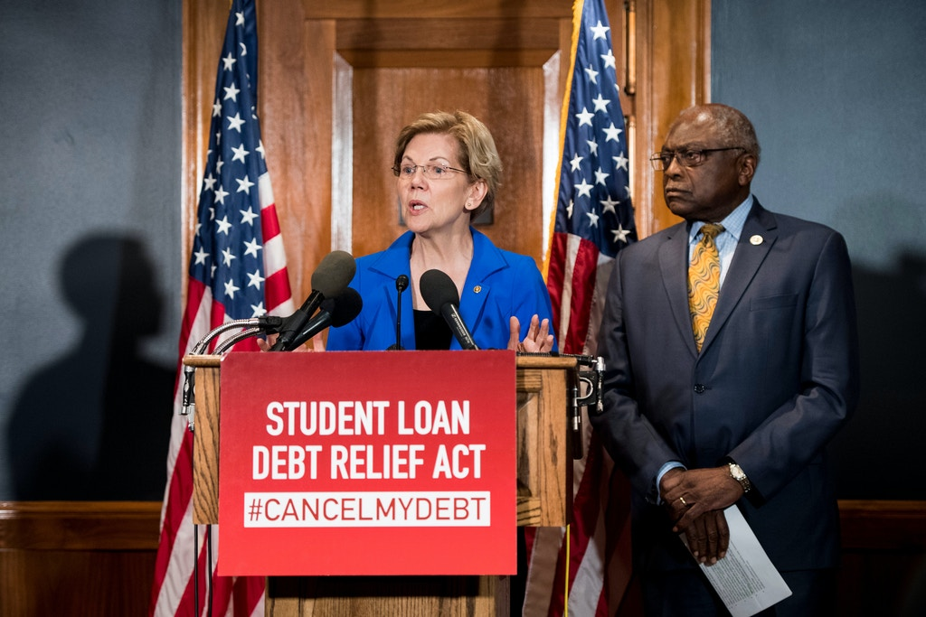 UNITED STATES - JULY 23: Sen. Elizabeth Warren, D-Mass., and House Majority Whip Jim Clyburn, D-S.C., hold a press conference in the Dirksen Senate Office Buidling to introduce the Student Loan Debt Relief Act to cancel student loan debt for millions of Americans on Tuesday, July 23, 2019. (Photo By Bill Clark/CQ Roll Call via AP Images)