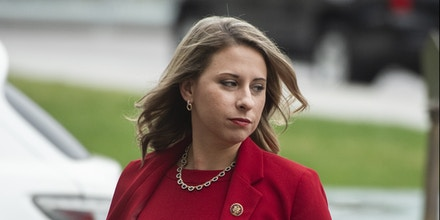 UNITED STATES - OCTOBER 31: Rep. Katie Hill, D-Calif., arrives to the Capitol for a House vote on a impeachment inquiry resolution on Thursday, October 31, 2019. This was Hill's last series of votes before her resignation, for having an improper relationship with an aide, becomes effective. (Photo By Tom Williams/CQ Roll Call via AP Images)