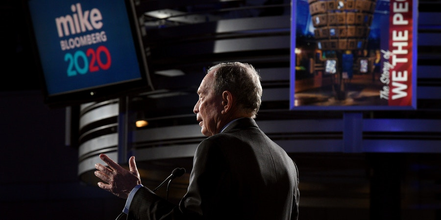 Democratic presidential candidate and former New York City Mayor Michael Bloomberg speaks at a campaign rally at the National Constitution Center in Philadelphia on Tuesday, Feb. 4, 2020. (Tom Gralish/The Philadelphia Inquirer via AP)