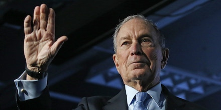 Democratic presidential candidate and former New York City Mayor Mike Bloomberg waves after speaking at a campaign event, Thursday, Feb. 20, 2020, in Salt Lake City. (AP Photo/Rick Bowmer)