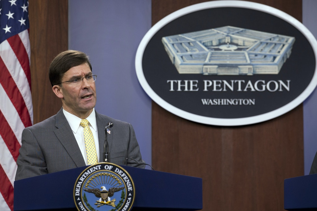 FILE - In this Jan. 27, 2020, file photo, Secretary of Defense Mark Esper speak during a news conference at the Pentagon in Washington. The Army, for the first time, will send soldiers from one of it's new training brigades to Africa in the coming weeks, expanding the use of the new specialized units as the Pentagon looks at possible troop cuts on the continent. (AP Photo/Jose Luis Magana, File)