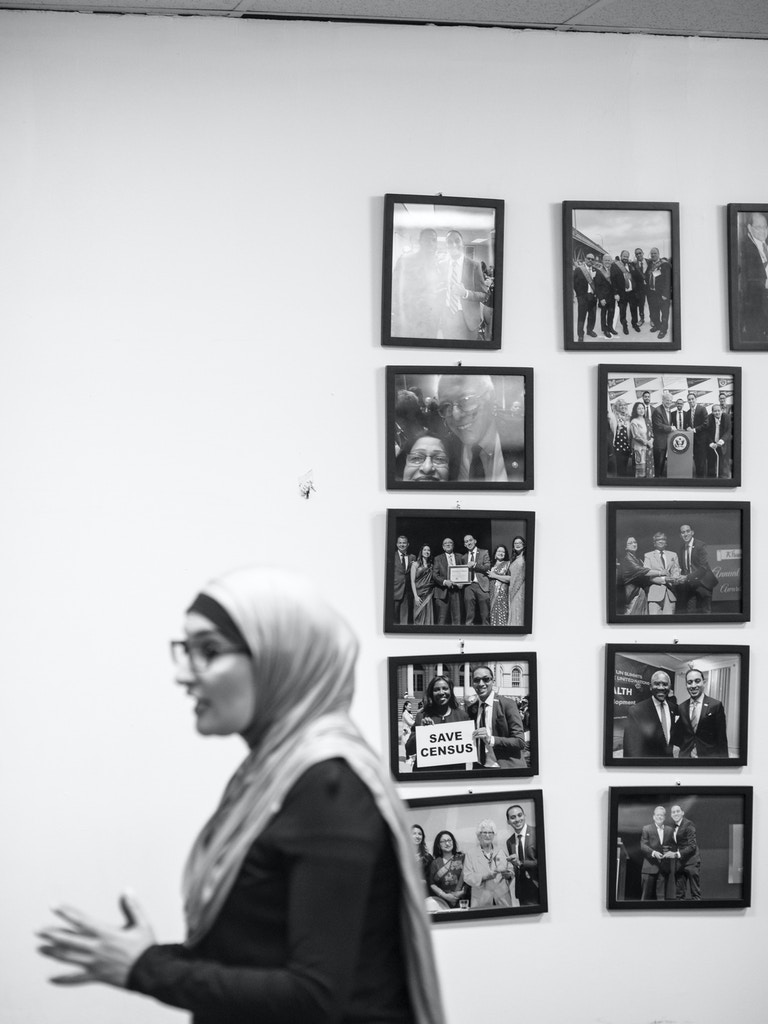Linda Sarsour at a Muslim Democratic Club of New York meeting in Queens Tues. Feb. 11, 2020. Kholood Eid for The Intercept