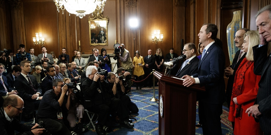 WASHINGTON, Dec. 10, 2019 -- U.S. House Democratic committee chairs attend a news conference to announce articles of impeachment against U.S. President Donald Trump on Capitol Hill in Washington D.C., the United States, on Dec. 10, 2019. U.S. House Democrats on Tuesday moved forward by announcing two articles of impeachment, accusing U.S. President Donald Trump of abuse of power and obstruction of Congress, culminating over two months of investigation by Democrat-led House committees into the president's dealings with Ukraine. (Photo by Ting Shen/Xinhua via Getty Images) (Xinhua/Ting Shen via Getty Images)