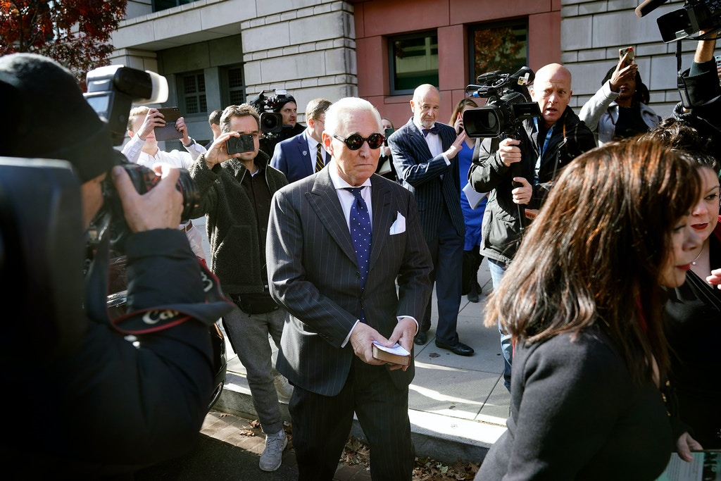 Roger Stone, former advisor to President Donald Trump, departs the E. Barrett Prettyman United States Courthouse in Washington, D.C., on Nov. 15, 2019, after being found guilty of obstructing a congressional investigation into Russia's interference in the 2016 election.