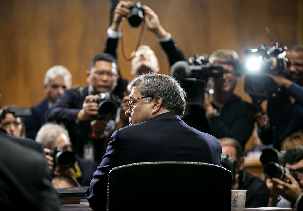 U.S. attorney general William Barr arrives for a Senate Judiciary Committee hearing in Washington, D.C., on May 1, 2019.