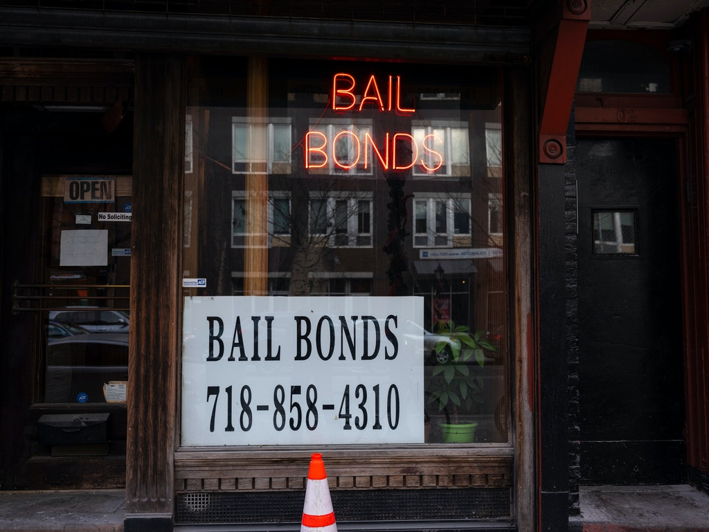 BROOKLYN, NEW YORK - DECEMBER 21: A sign advertises services for bail bonds along Atlantic Avenue near the Brooklyn Detention Complex in Brooklyn, New York, December 21, 2019. A state license is required to be a bail bondsman. (Photo by Robert Nickelsberg/Getty Images)