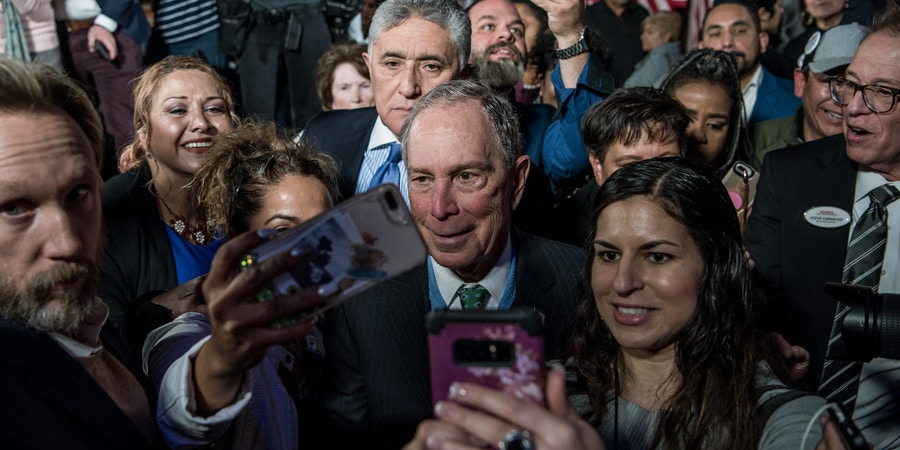 EL PASO, TX - JANUARY 29: Democratic presidential candidate, former New York City Mayor Mike Bloomberg takes selfies with supporters after announcing his new Latino policy El Paso Adelante (the path forward) at a campaign rally on January 29, 2020 in El Paso, Texas. (Photo by Cengiz Yar/Getty Images)