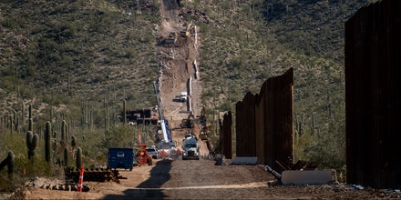 LUKEVILLE, AZ - JANUARY 7:The border fence construction continues up a mountain in the Organ Pipe Cactus National Monument in Lukeville, AZ on January 7, 2020. (Photo by Carolyn Van Houten/The Washington Post via Getty Images)