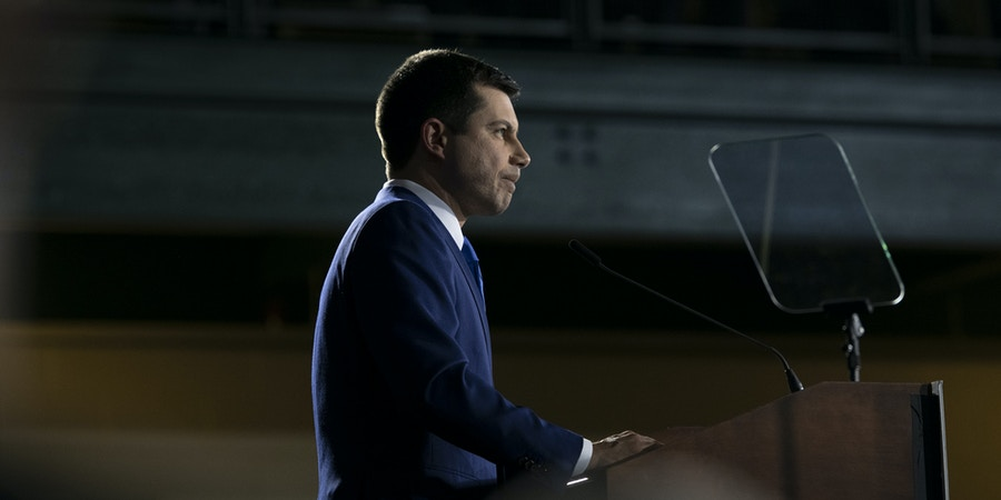 Pete Buttigieg, former mayor of South Bend and 2020 presidential candidate, speaks during a primary night rally in Nashua, New Hampshire, U.S., on Tuesday, Feb. 11, 2020. Bernie Sanderswon the New Hampshire primary Tuesday, fending off strong challenges fromButtigiegandAmy Klobucharas he sought to solidify his status as standard bearer of a Democratic party split between progressives and moderates. Photographer: Kate Flock/Bloomberg via Getty Images