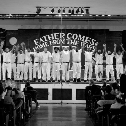 "Cast members take a bow at the end of their performance of ""Father Comes Home From the Wars"" at Green Haven prison in Stormville, N.Y."