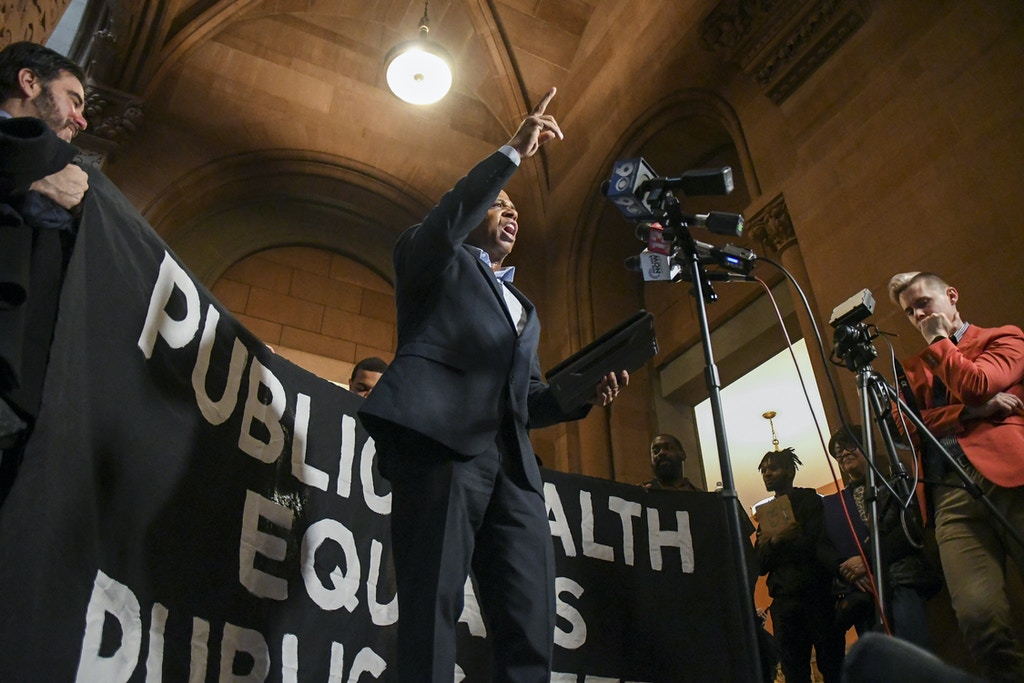 FILE - Marvin Mayfield, an activist, speaks during a rally at the state Capitol in Albany, N.Y., on Feb. 4, 2020. A proposal to modify a new bail law has become the latest flash point in one of Albany's most bitterly fought debates. (Cindy Schultz/The New York Times)