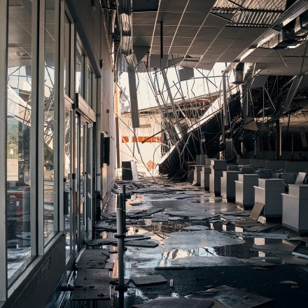 Earthquake damage inside a former Kmart store in the Yauco Plaza Shopping Center, in Yauco, Puerto Rico, on Jan. 7, 2020.