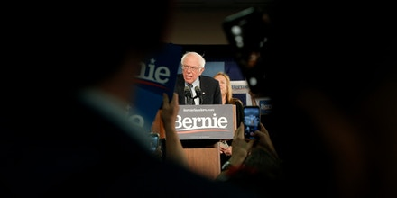 Sen. Bernie Sanders speaks to supporters at a caucus night campaign rally in Des Moines, Iowa, on Feb. 3, 2020.