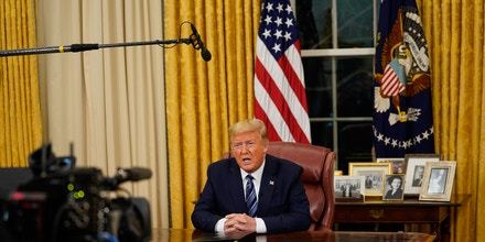 President Donald Trump addresses the Nation from the Oval Office about the widening coronavirus crisis, Wednesday, March, 11, 2020. (POOL PHOTO by Doug Mills/The New York Times) NYTVIRUSNYTCREDIT: Doug Mills/The New York Times