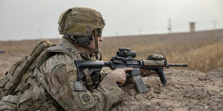 A U.S. Army paratrooper assigned to the 82nd Airborne Division pulls security during a base defense exercise on Camp Taji, Iraq, Jan. 19, 2020. (U.S. Army photo by Spc. Caroline Schofer)